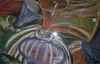 """Martini Glass Still Life"" (Part 2), by Dani Lalonde, 3' x 2' Pastel on Paper, (2004)."