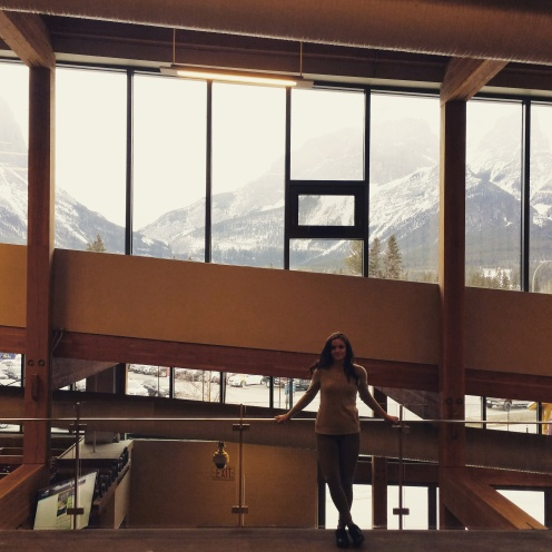 Dani Lalonde (Studio Crumbs) visiting Elevation Place Recreation Centre in Canmore Alberta Designed by Gibbs Gage Architects of Calgary.